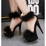 Black Feather Fur Flurry Sexy Platforms Super High Stiletto Heel Sandals Shoes
