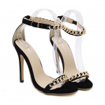 Black Suede Gold Metal Chain Straps Stiletto High Heels Sandals Shoes