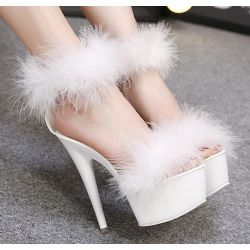 White Feather Fur Flurry Sexy Platforms Super High Stiletto Heels Sandals Shoes