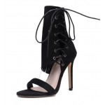 Black Suede Side Ankle Lace Up Booties Stiletto High Heels Sandals Shoes