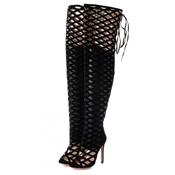 Black Suede Cut Out Cage Thigh High Gothic Stiletto High Heels Boots Shoes