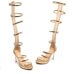 Gold Metallic Thin Straps Stiletto High Heels Gladiator Boots Sandals Shoes