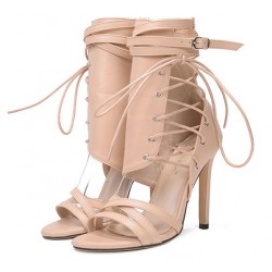 Khaki Side Ankle Lace Up Booties Stiletto High Heels Sandals Shoes