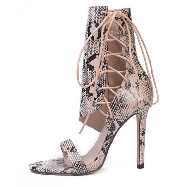 Khaki Snake Print Side Ankle Lace Up Booties Stiletto High Heels Sandals Shoes