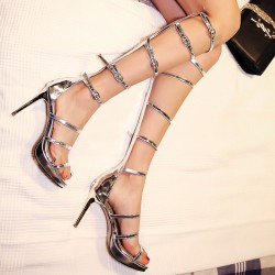 Silver Metallic Thin Straps Stiletto High Heels Gladiator Boots Sandals Shoes