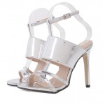 Silver Metallic Sexy Strappy Stiletto High Heels Sandals Shoes