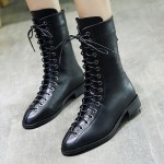Black Lace Up Point Head Vintage Bowling Rider Flats Bootie Boots Shoes