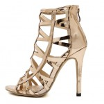 Gold Metallic Cut Out Stiletto High Heels Sandals Shoes