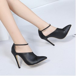 Black Ankle Strap Point Head Vintage Stiletto High Heels Shoes