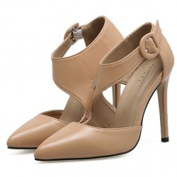 Khaki Swirl Strap Point Head Ankle Stiletto High Heels Shoes