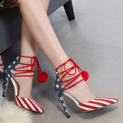 Red Blue USA Flags Point Head Ankle Pom Stiletto High Heels Shoes