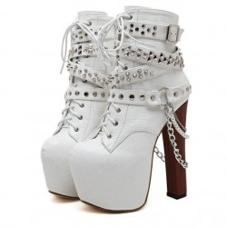 White Metal Studs Grunge  Platforms Punk Rock Chunky Block Heels Boots Shoes