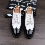 Black White Glossy Patent Leather Lace Up Oxfords Flats Dress Shoes