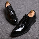 Black Glossy Patent Leather Studs Lace Up Oxfords Flats Dress Shoes