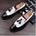 Black White Tassels Glossy Patent Leather Loafers Flats Dress Shoes