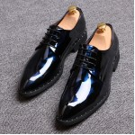 Blue Black Glossy Patent Leather Studs Lace Up Oxfords Flats Dress Shoes