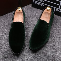 Green Velvet Mens Oxfords Flats Loafers Dress Shoes