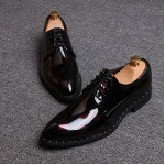 Red Black Glossy Patent Leather Studs Lace Up Oxfords Flats Dress Shoes