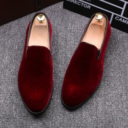 Red Velvet Mens Oxfords Flats Loafers Dress Shoes