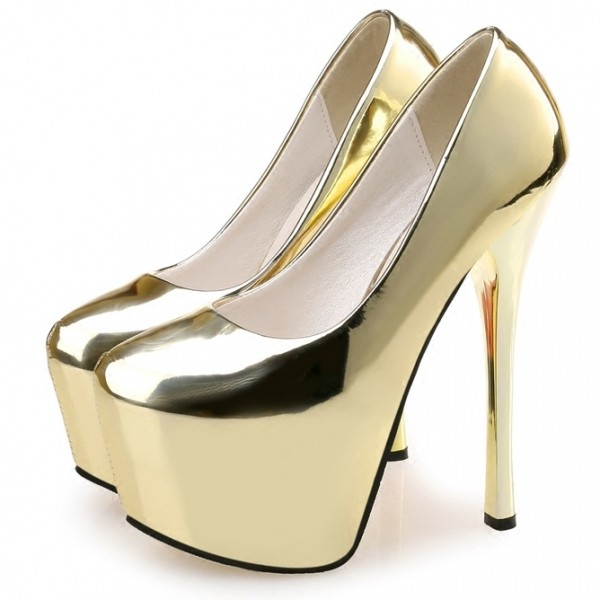 Gold Mirror Platforms Stiletto Super High Heels Shoes