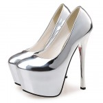 Silver Mirror Platforms Stiletto Super High Heels Shoes