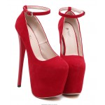 Red Suede Leather Platforms Stiletto Super High Heels Shoes