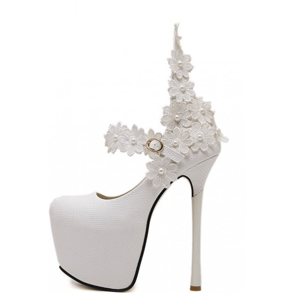 White Mary Jane Platforms Flowers Bridal Stiletto Super High Heels Shoes