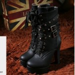 Black Lace Up Square Studs High Top Platforms Heels Military Combat Boots