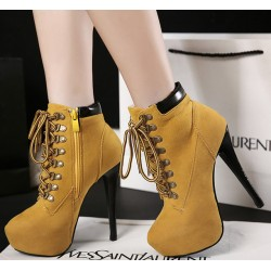 Yellow Punk Rock Lace Up Stiletto High Heels Platform Rider Boots