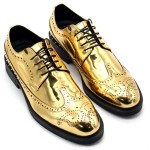 Gold Mirror Metallic Shiny Baroque Lace up Dappermen Mens Oxfords Shoes