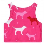 Pink Dogs Cropped Sleeveless T Shirt Cami Tank Top