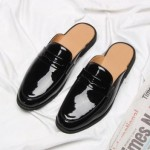 Black Leather Mens Formal Slip On Flats Sandals Loafers Shoes