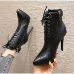 Black Leather Lace Up Point Head Stiletto High Heels Ankle Boots Shoes
