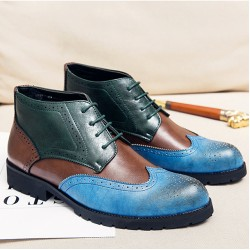 Blue Green Wingtip Baroque Vintage Dapperman Dapper Man Boots Shoes