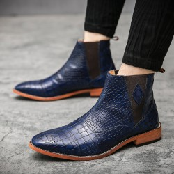 Blue Croc Baroque Vintage Dapperman Dapper Man Chelsea Boots Shoes