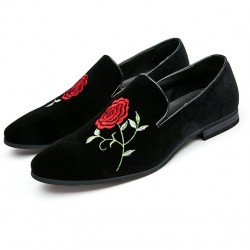 Black Velvet Embroidered Red Rose Mens Oxfords Loafers Dress Shoes Flats