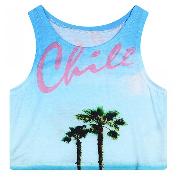 Blue Chile Trees Sleeveless T Shirt Cami Tank Top