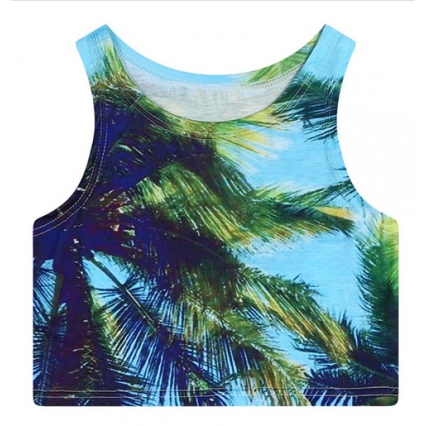 Blue Coconut Palm Trees Sleeveless T Shirt Cami Tank Top