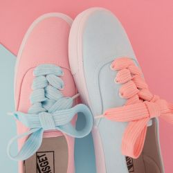 Blue Pink Pastel Color Thick Lace Up Sneakers Flats Shoes