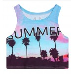 Blue Summer Sky Palm Trees Sleeveless T Shirt Cami Tank Top