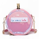 Pink Black la vita e bella Patent Perfume Clutch Bag Purse Shouder Bag