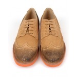 Khaki Vintage Suede Orange Sole Lace Up Baroque Mens Oxfords Dress Shoes