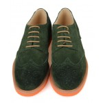 Green Vintage Suede Orange Sole Lace Up Baroque Mens Oxfords Dress Shoes