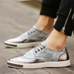 Silver Grey Camouflage Leather Lace Up Baroque Mens Oxfords Dress Shoes Sneakers