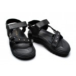 Black Leather Straps Square Studs Thick Sole Mens Roman Gladiator Sandals