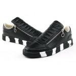 Black White Sole Side Zipper Mens Sneakers Shoes