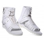 White Leather High Tops Boots Bootie Mens Roman Gladiator Sandals