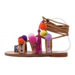 Khaki Colorful Fur Pom Tassels Suede Gladiator Flats Roman Sandals