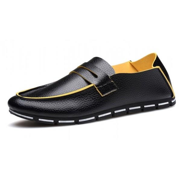Black Leather Mens Casual Soft Sole Loafers Flats Shoes