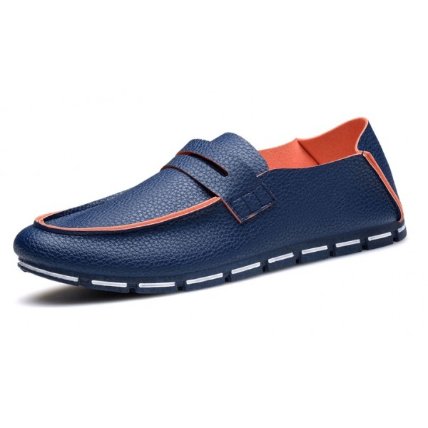 Blue Leather Mens Casual Soft Sole Loafers Flats Shoes